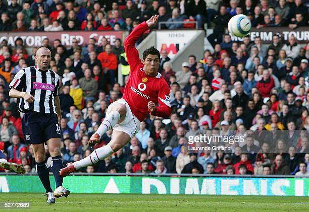 Cristiano Ronaldo of Manchester United fires in a shot at goal during the FA Barclays Premiership match between Manchester United and West Bromwich...