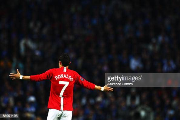 Cristiano Ronaldo of Manchester United gestures during the UEFA Champions League Quarter Final second leg match between FC Porto and Manchester...