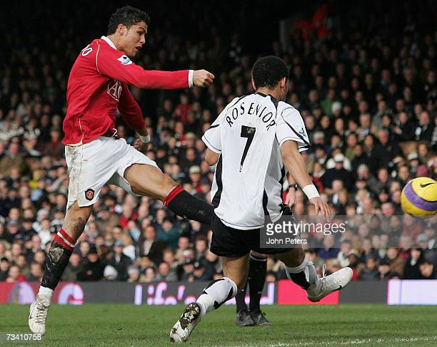 Cristiano Ronaldo of Manchester United has a shot on goal during the Barclays Premiership match between Fulham and Manchester United at Craven...