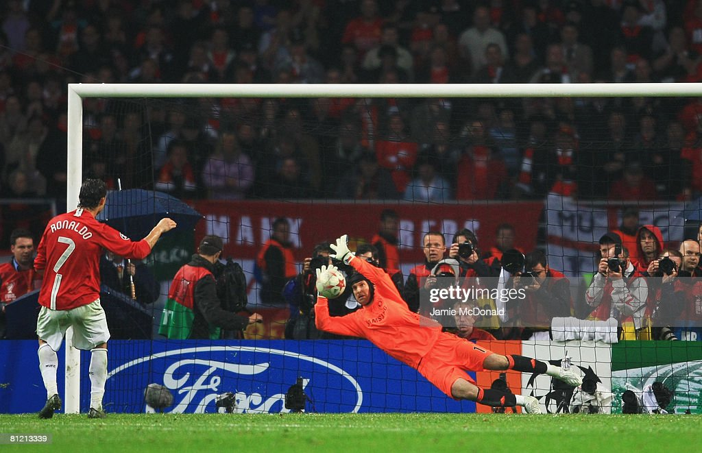 Cristiano Ronaldo of Manchester United has his penalty kick saved by Petr Cech of Chelsea in the shoot-out during the UEFA Champions League Final match between Manchester United and Chelsea at the Luzhniki Stadium on May 21, 2008 in Moscow, Russia.