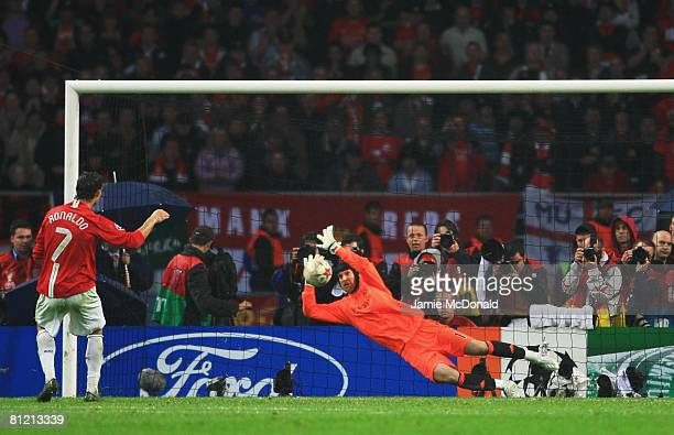 Cristiano Ronaldo of Manchester United has his penalty kick saved by Petr Cech of Chelsea in the shootout during the UEFA Champions League Final...