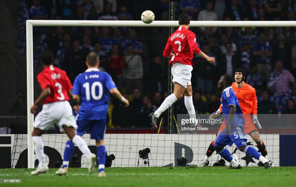 Cristiano Ronaldo of Manchester United heads the opening goal during the UEFA Champions League Final match between Manchester United and Chelsea at...