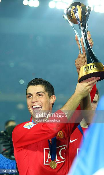 Cristiano Ronaldo of Manchester United holds the FIFA Club World Cup Japan 2008 trophy after the final match between Manchester United and Liga de...