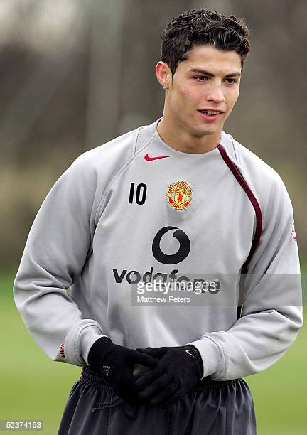 Cristiano Ronaldo of Manchester United in action during a first team training session at Carrington Training Ground on 11 March 2005 in Manchester...