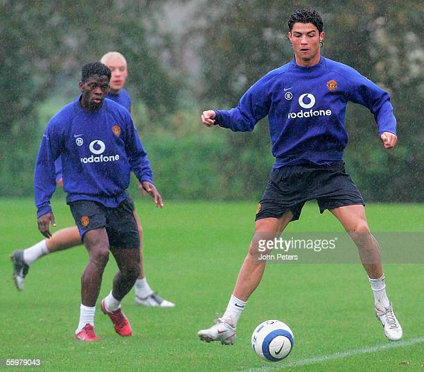 Cristiano Ronaldo of Manchester United in action during a first team training session at Carrington Training Ground on October 21 2005 in Manchester...