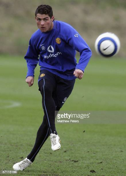 Cristiano Ronaldo of Manchester United in action during a first team training session at Carrington Training Ground on March 17 2006 in Manchester...