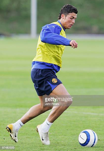 Cristiano Ronaldo of Manchester United in action during a first team training session at Carrington Training Ground on April 28 2006 in Manchester...