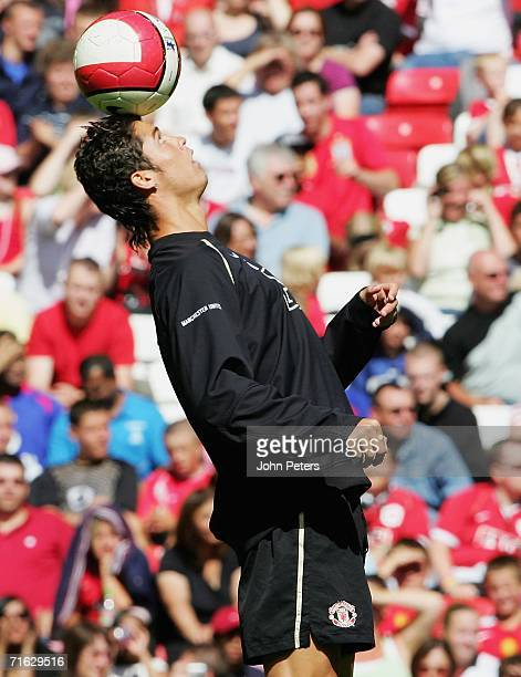Cristiano Ronaldo of Manchester United in action during a first team training session at Old Trafford on August 11 2006 in Manchester England