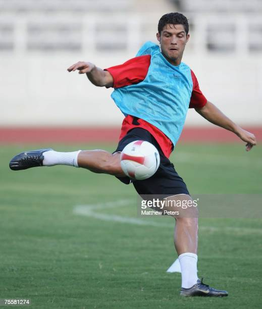 Cristiano Ronaldo of Manchester United in action during a First Team training session at Macau Stadium on July 21 2007 in Macau China