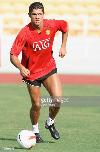 Cristiano Ronaldo of Manchester United in action during a First Team training session at Macau Stadium on July 22 2007 in Macau China