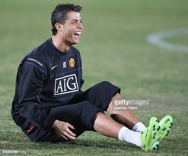 Cristiano Ronaldo of Manchester United in action during a First Team Training Session ahead of the World Club Cup at Todorki Kawasaki on December 16...