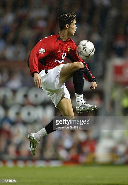 Cristiano Ronaldo of Manchester United in action during the FA Barclaycard Premiership match between Manchester United and Wolverhampton Wanderers at...