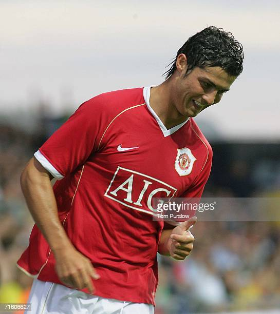 Cristiano Ronaldo of Manchester United in action during the preseason friendly match between Oxford United and Manchester United at Kassam Stadium on...