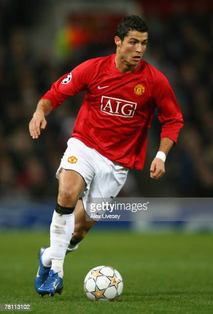 Cristiano Ronaldo of Manchester United in action during the UEFA Champions League Group F match between Manchester United and Sporting Lisbon at Old...