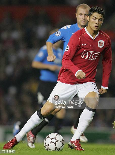 Cristiano Ronaldo of Manchester United in action on the ball during the UEFA Champions League match between Manchester United and FC Copenhagen at...