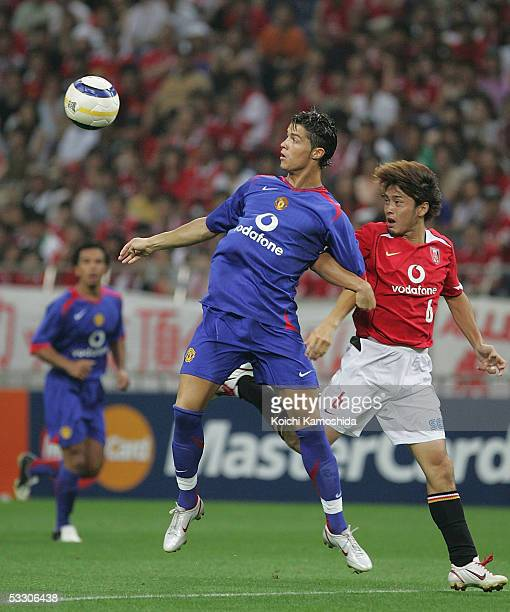 Cristiano Ronaldo of Manchester United in action the preseason friendly match between Urawa Reds and Manchester United at Saitama Stadium 2002 on...
