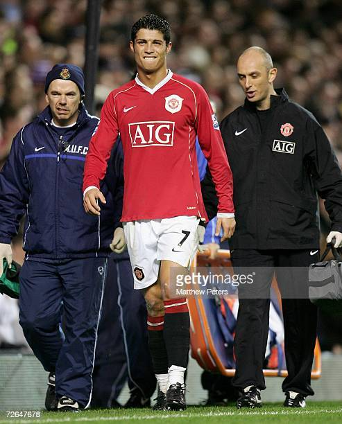 Cristiano Ronaldo of Manchester United limps off during the second half of the Barclays Premiership match between Manchester United and Chelsea at...