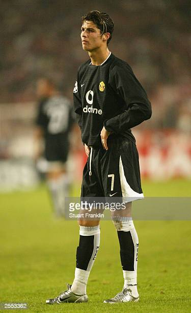 Cristiano Ronaldo of Manchester United looks dejected during the UEFA Champions League Group E match between VfB Stuttgart and Manchester United at...