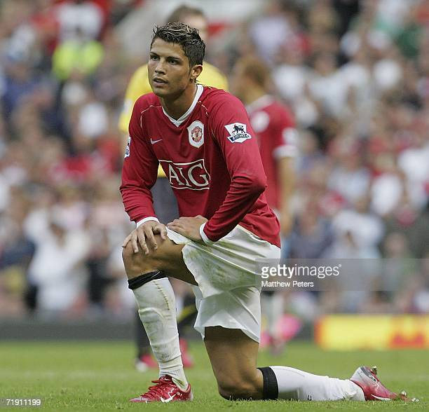 Cristiano Ronaldo of Manchester United looks disappointed during the Barclays Premiership match between Manchester United and Arsenal at Old Trafford...