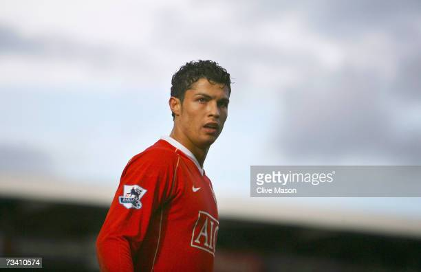 Cristiano Ronaldo of Manchester United looks on during the Barclays Premiership match between Fulham and Manchester United at Craven Cottage on...