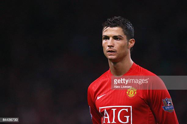Cristiano Ronaldo of Manchester United looks on during the FA Cup sponsored by EON Fourth Round match between Manchester United and Tottenham Hotspur...