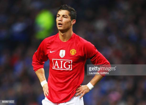 Cristiano Ronaldo of Manchester United looks on during the UEFA Champions League Quarter Final second leg match between FC Porto and Manchester...