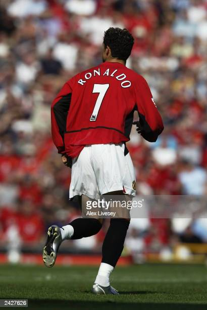 Cristiano Ronaldo of Manchester United makes his debut for his new club during the FA Barclaycard Premiership match between Manchester United and...