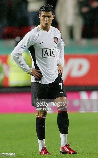 Cristiano Ronaldo of Manchester United pauses during the Barclays Premiership match between Charlton Athletic and Manchester United at The Valley on...