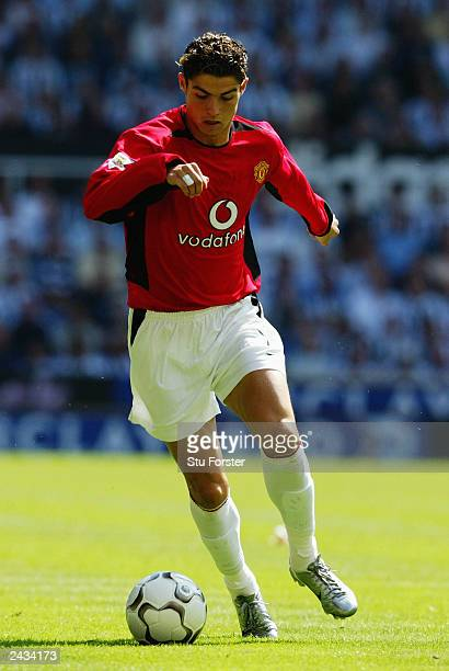 Cristiano Ronaldo of Manchester United runs with the ball during the FA Barclaycard Premiership match between Newcastle United and Manchester United...