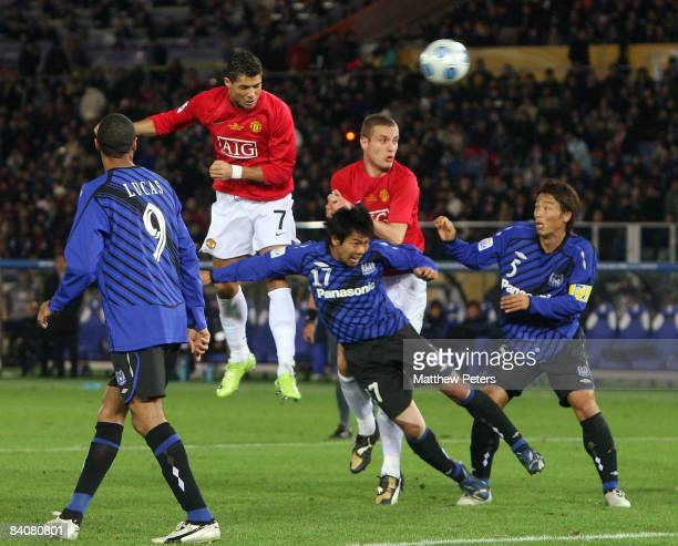 Cristiano Ronaldo of Manchester United scores their second goal during the FIFA World Club Cup SemiFinal match between Gamba Osaka and Manchester...