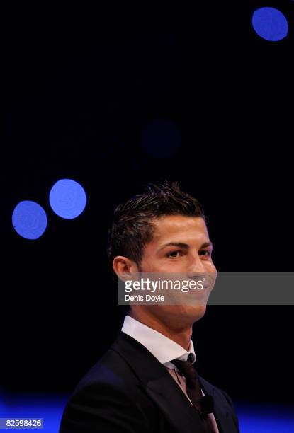 Cristiano Ronaldo of Manchester United smikes after winning the Player of the Year award at the UEFA Champions League Draw for the 2008/2009 season...