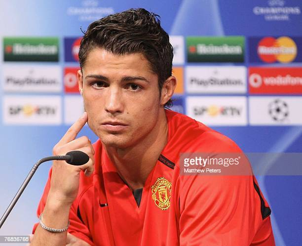 Cristiano Ronaldo of Manchester United speaks during a prematch press conference at Jose Alvalade Stadium on September 18 2007 in Lisbon Portugal