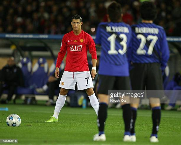 Cristiano Ronaldo of Manchester United takes a free kick during the FIFA Club World Cup semi final match between Manchester United and Gamba Osaka at...