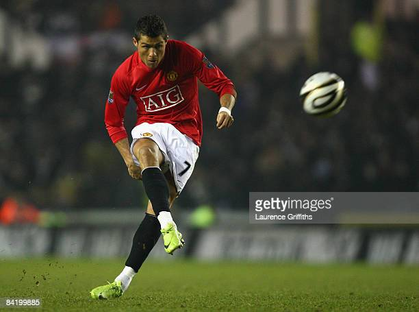 Cristiano Ronaldo of Manchester United takes a free kick during the Carling Cup Semi Final 1st Leg match between Derby County and Manchester United...