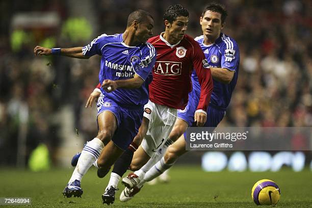 Cristiano Ronaldo of Manchester United tries to evade the challenges of Ashley Cole and Frank Lampard of Chelsea during the Barclays Premiership...