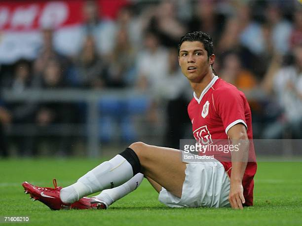 Cristiano Ronaldo of Manchester Utd sits on the pitch during the pre season friendly match between Oxford Utd and Manchester Utd at the Kassam...