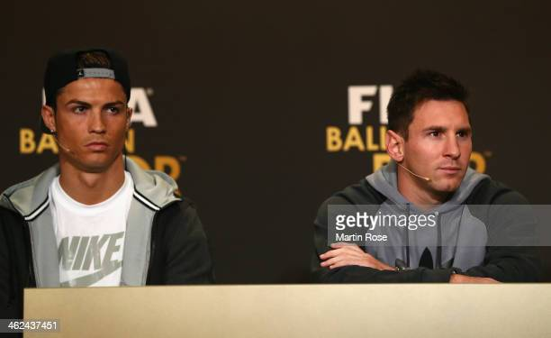 Cristiano Ronaldo of Portgal and Lionel Messi of Argentina attend the FIFA Ballon d'Or 2013 press conference with nominees for Men's Football World...