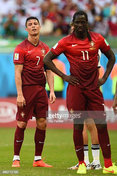 Cristiano Ronaldo of Portugal and Eder look dejected during the 2014 FIFA World Cup Brazil Group G match between Germany and Portugal at Arena Fonte...