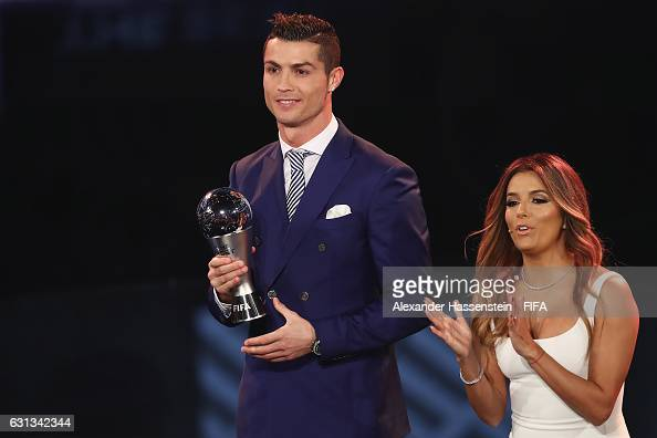 Cristiano Ronaldo of Portugal and Real Madrid accepts The Best FIFA Men's Player Award during The Best FIFA Football Awards at TPC Studio on January...