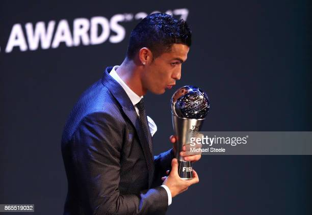 Cristiano Ronaldo of Portugal and Real Madrid CF wins The best Fifa men's player during The Best FIFA Football Awards Show on October 23 2017 in...