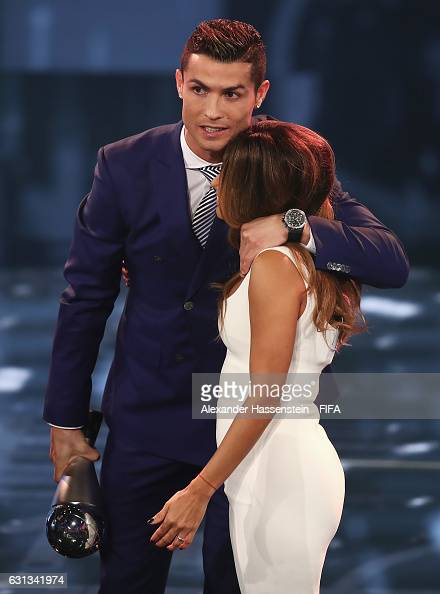 Cristiano Ronaldo of Portugal and Real Madrid hugs host Eva Longoria after accepting The Best FIFA Men's Player Award during The Best FIFA Football...
