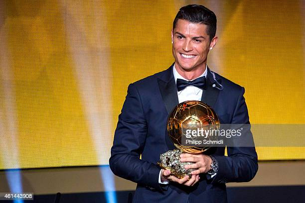 Cristiano Ronaldo of Portugal and Real Madrid receives the 2014 FIFA Ballon d'Or award for the player of the year during the FIFA Ballon d'Or Gala...