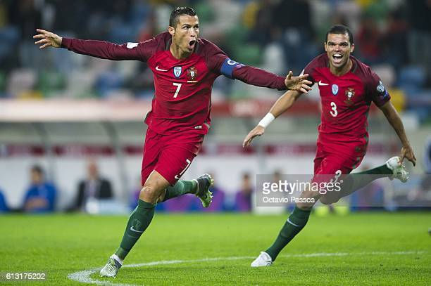 Cristiano Ronaldo of Portugal celebrates after scoring a goal during the 2018 FIFA World Cup Qualifying Group B match between Portugal and Andorra at...