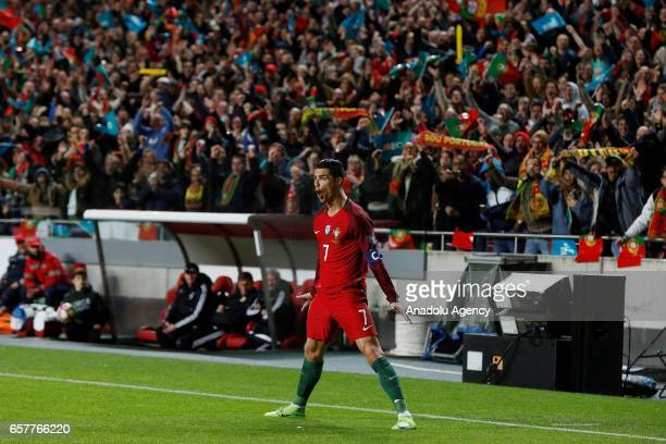 Cristiano Ronaldo of Portugal celebrates after scoring a goal during the 2018 FIFA World Cup Qualifying Group B match between Portugal and Hungary at...