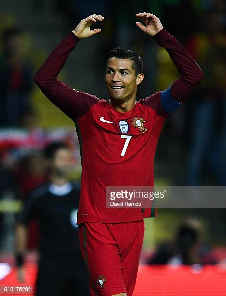 Cristiano Ronaldo of Portugal celebrates after scoring his team's first goal during the FIFA 2018 World Cup Qualifier between Portugal and Andorra at...