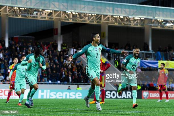 Cristiano Ronaldo of Portugal celebrates after scoring the opening goal past the goalkeeper Josep Gomes of Andorraduring the FIFA 2018 World Cup...
