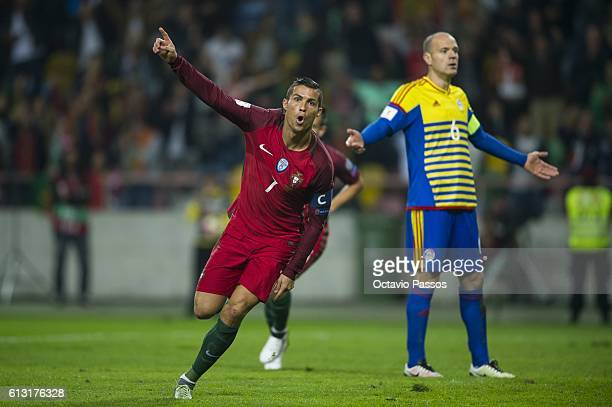 Cristiano Ronaldo of Portugal celebrates after scoring the second a goal during the 2018 FIFA World Cup Qualifying Group B match between Portugal and...