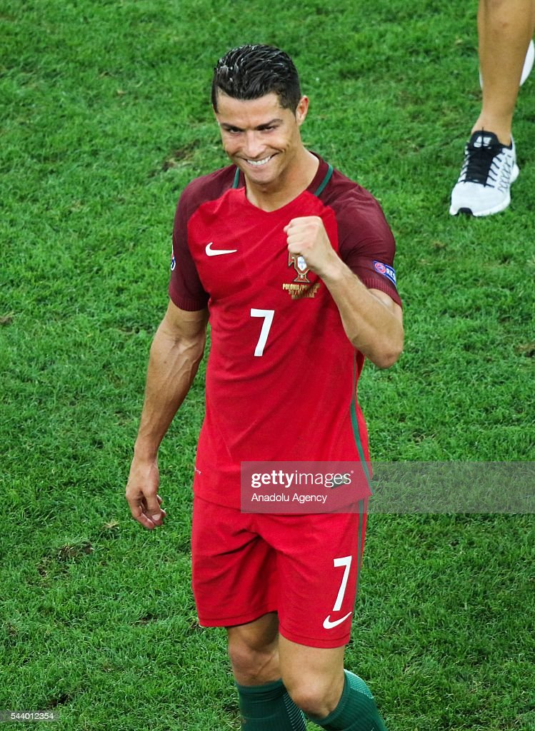 Cristiano Ronaldo of Portugal celebrates after winning the Euro 2016 quarter-final football match between Poland and Portugal at the Stade Velodrome in Marseille on June 30, 2016.