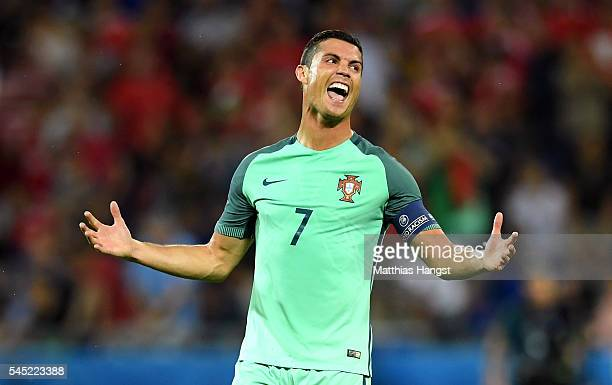 Cristiano Ronaldo of Portugal celebrates at the final whistle during the UEFA EURO 2016 semi final match between Portugal and Wales at Stade des...