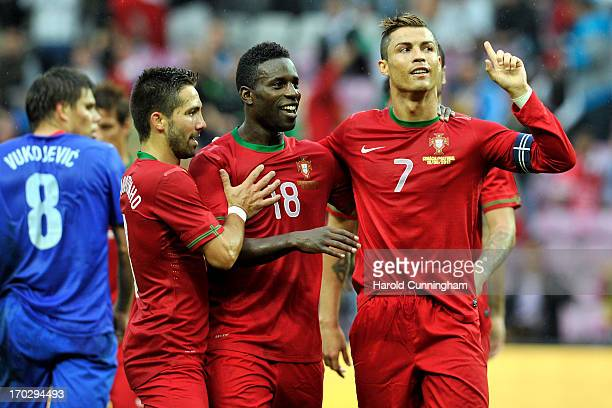 Cristiano Ronaldo of Portugal celebrates his goal with Joao Moutinho and Varela of Portugal during the international friendly match between Portugal...
